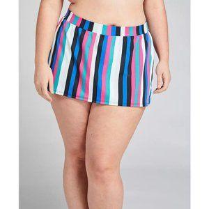 Lane Bryant Striped Slitted Swim Skirt 22